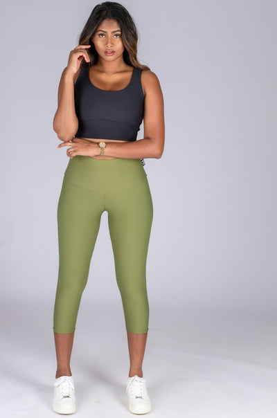 (R2W) Khaki Performance - High Waisted Capri Leggings