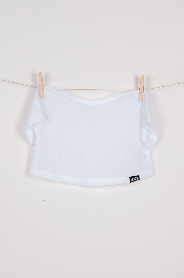(R2W) White Net - Kids Cropped Tee