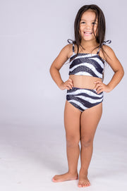 (R2W) Jungle Zebra w/ Believe the Hype - Kids Bikini Top