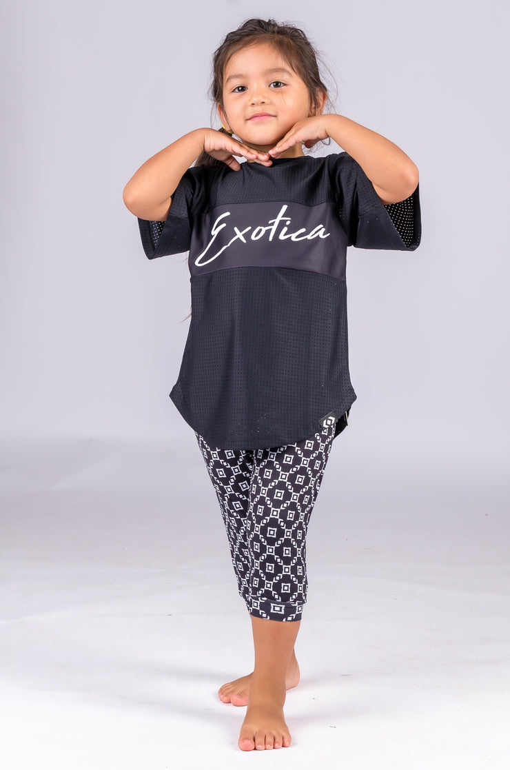 (R2W) Exotic Monogram Black Soft to Touch - Kids Jogger Capris