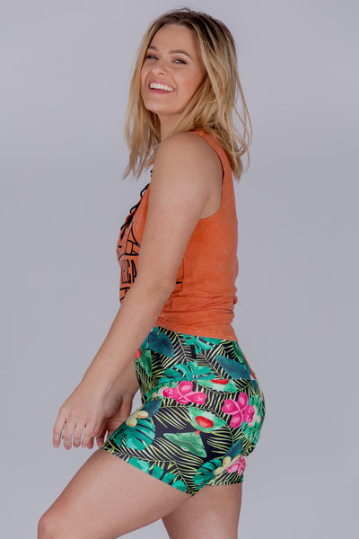 (R2W) Tropical Haven Performance - High Waisted Long Booty Shorts