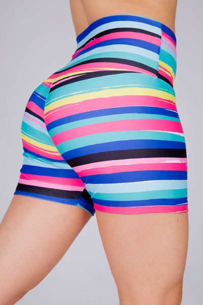 (R2W) Rainbow Runway Performance - High Waisted Long Booty Shorts