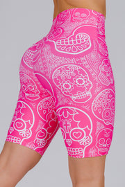 (R2W) Pink Candy Skull Performance - High Waisted Long Shorts