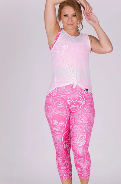 (R2W) Pink Candy Skull Performance - High Waisted Capri Leggings