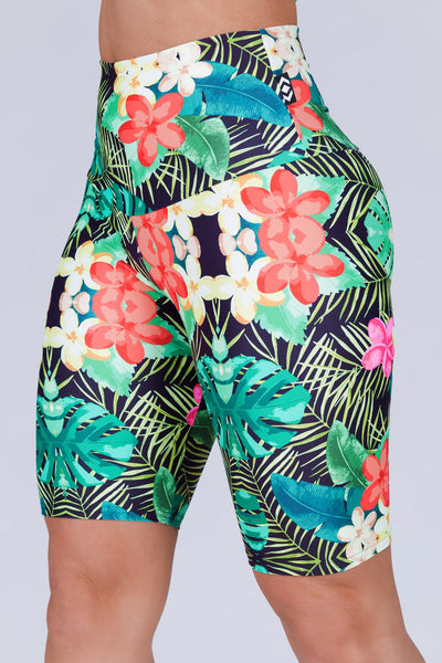 (R2W) Tropical Haven Performance - High Waisted Long Shorts