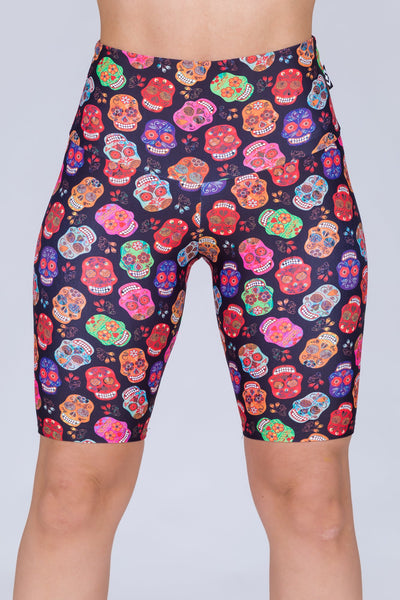 (R2W) Sugar Skull Performance - High Waisted Long Shorts