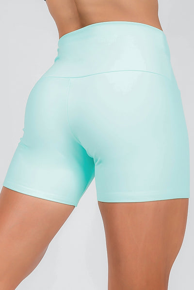 READY TO WEAR Performance High Waisted Long Booty Shorts - Mint
