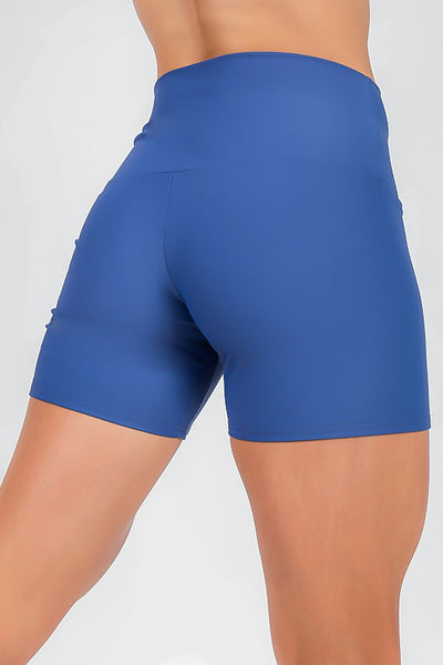 (R2W) Performance High Waisted Long Booty Shorts - Blue, READY TO WEAR - exoticathletica - australian made activewear & swimwear