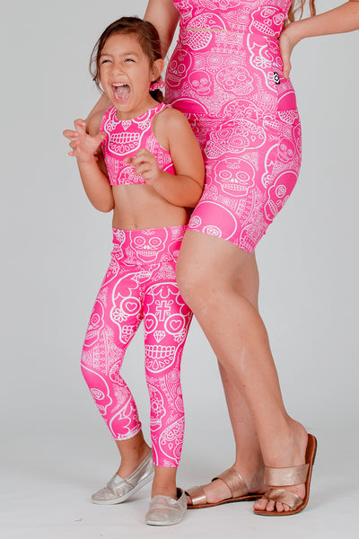(R2W) Pink Candy Skull Performance - Kids Capris