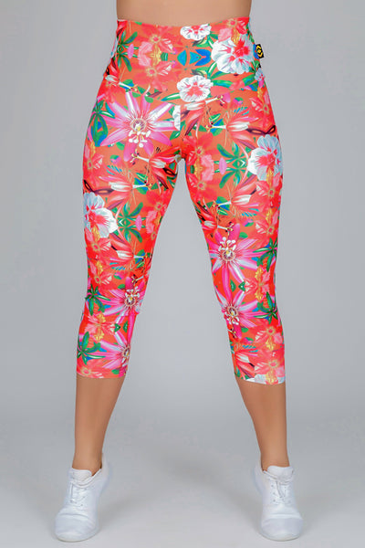 (R2W) LIMITED EDITION Performance High Waisted Capri Leggings - West Coast Tropics, READY TO WEAR - exoticathletica - australian made activewear & swimwear