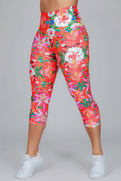 (R2W) West Coast Tropics Performance -  High Waisted Capri Leggings