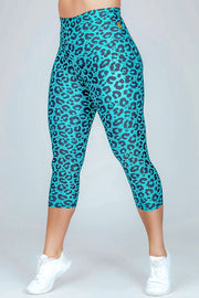(M2O) LIMITED EDITION Performance High Waisted Capri Leggings - Exotic Jag, capri - exoticathletica - australian made activewear & swimwear