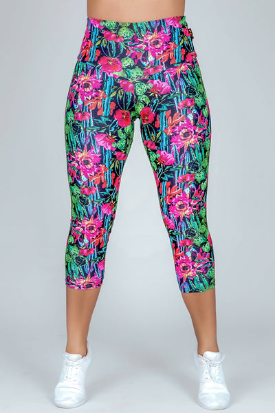 (R2W) Performance High Waisted Capri Leggings - Casa De Cactus, READY TO WEAR - exoticathletica - australian made activewear & swimwear
