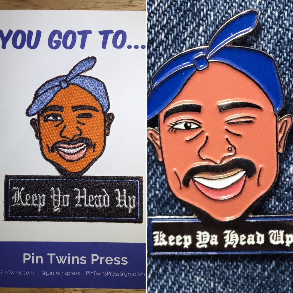Pin/Patch Combo: Keep Ya Head Up pin & patch
