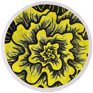 Dynamic Thought Flower #3 - Round Beach Towel