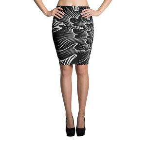 Static Thought Flower - Pencil Skirt