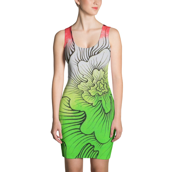 Dynamic Thought Flower # 5 - Sublimation Cut & Sew Dress