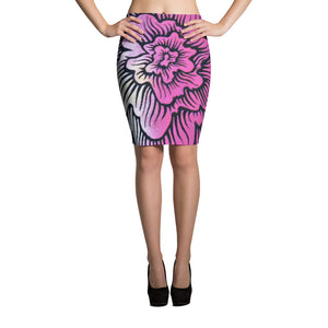 Dynamic Thought Flower #2 Pencil Skirt