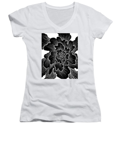 Static Thought Flower - Women's V-Neck (Athletic Fit)