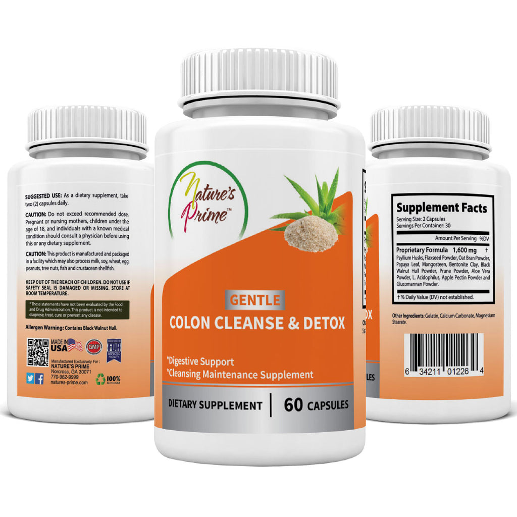 NATURE'S PRIME GENTLE COLON CLEANSE AND DETOX for Digestive Support and Cleansing Maintenance
