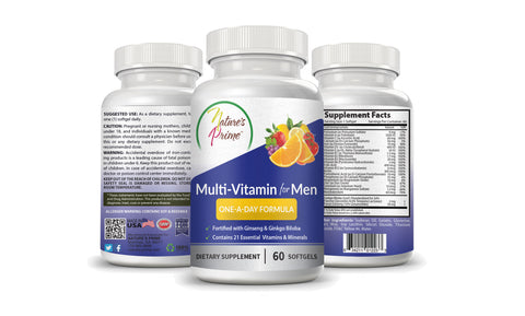 Nature's Prime's Multi-Vitamin One-A-Day Formula for Men - The Complete Dietary Supplement for Men