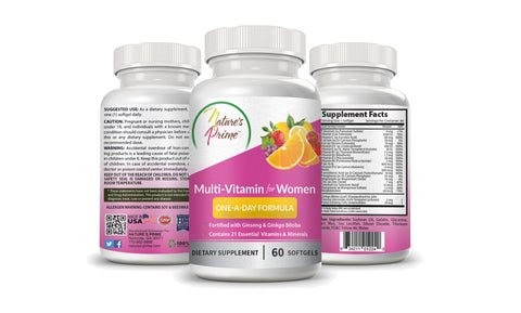 Nature's Prime's Multi-Vitamin One-A-Day Formula for Women - The Complete Dietary Supplement for Women