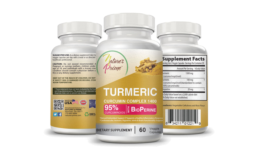 Nature's Prime Turmeric Curcumin Complex with BioPerine Dietary Supplements - 95% Curcuminoids - Veggie Capsules for Vegans, Halal & Kosher - Joints