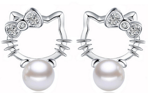 Silver plated with Crystal & Pearl Kitty Earrings