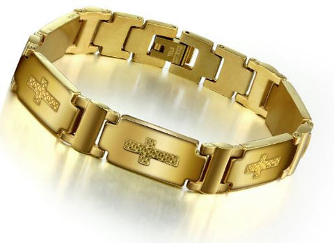 Mens Gold Plated Cross Bracelet