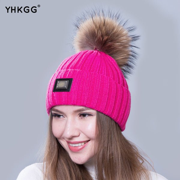 Ladies knitted wool Bobble hat