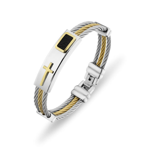 Gold and stainless steel cross bracelet