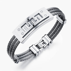 Mens triple Wire Rope bracelet