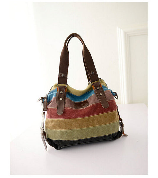 Ladies multicolored tote style bag