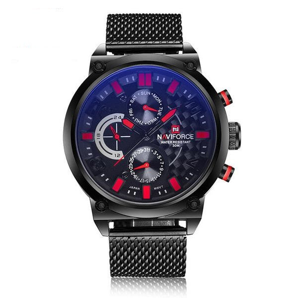 Darkened Steel Wristwatch with Mesh Band