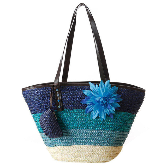 Natural Straw Tote bag with zipper