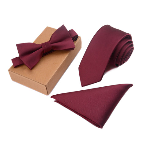 Mens Pocket Square, Bow Tie & Neck Tie Matching Set