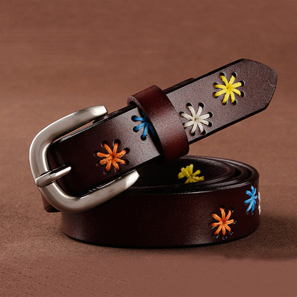 Ladies Leather Belt With Floral Stitching