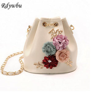 Ladies Drawstring Bucket Bag with Flower Detail