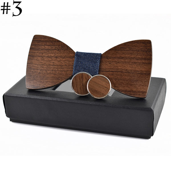Wooden Bow Tie and Matching Cuff Link Combo Set