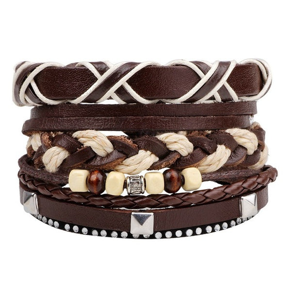 Mens Multilayer Leather Bracelet