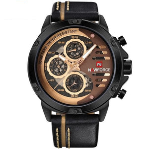 Rugged Sports Watch With Leather Band
