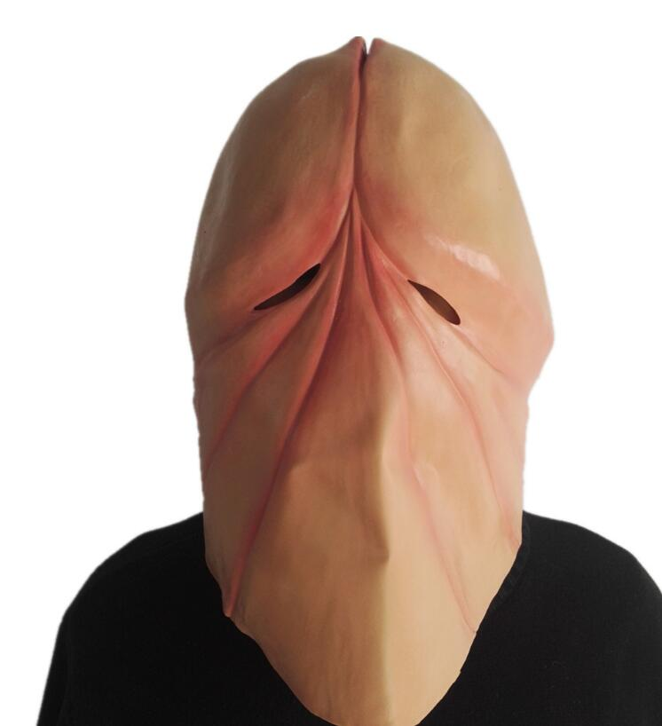 Funny Natural Latex Penis Dick Head Full Face Cosplay Prop Halloween Mask Helmet