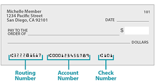 bank check with account number and routing number