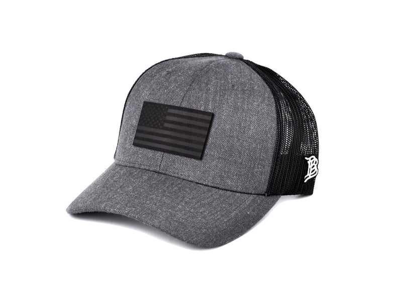 Leather Hashtag Black Patch Engraved Trucker Hat One Legging it Around #biedron