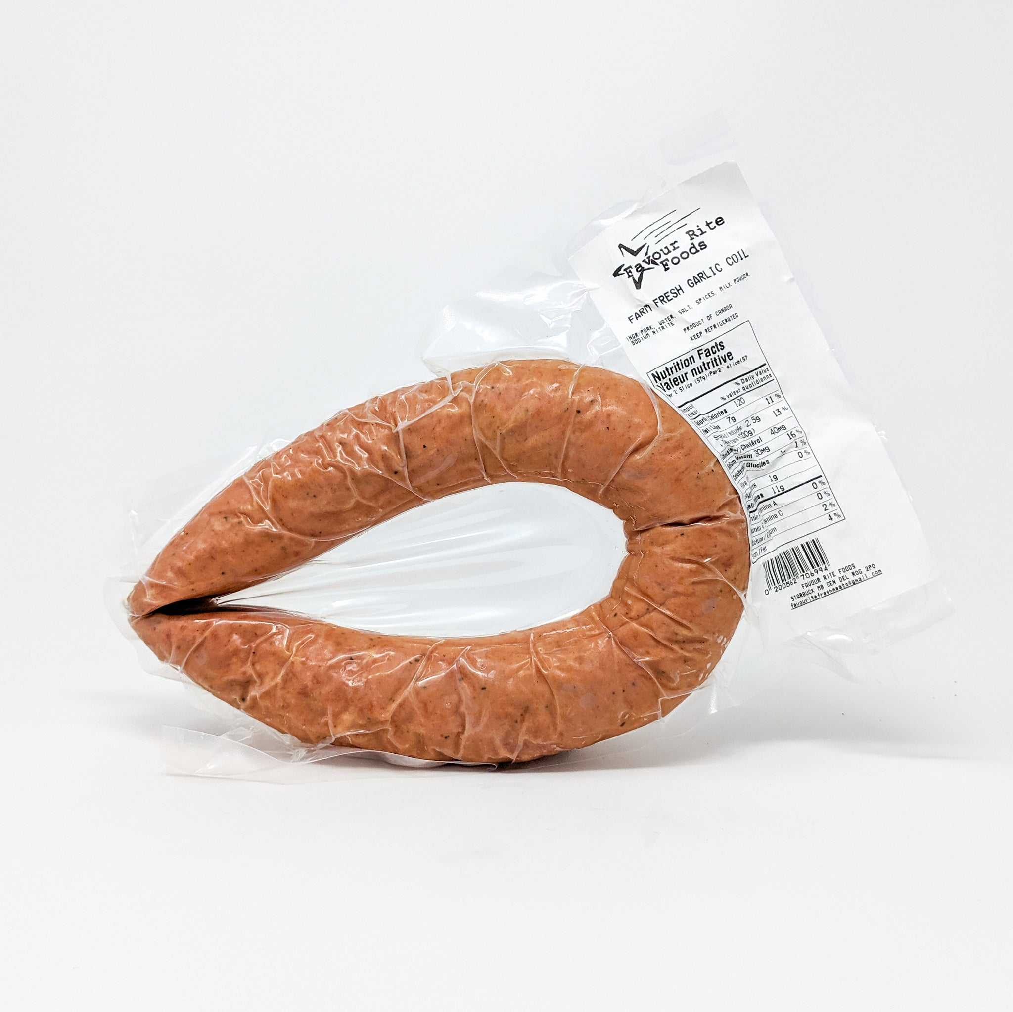 Hutterite Garlic Sausage Coil - Fresh and Cured