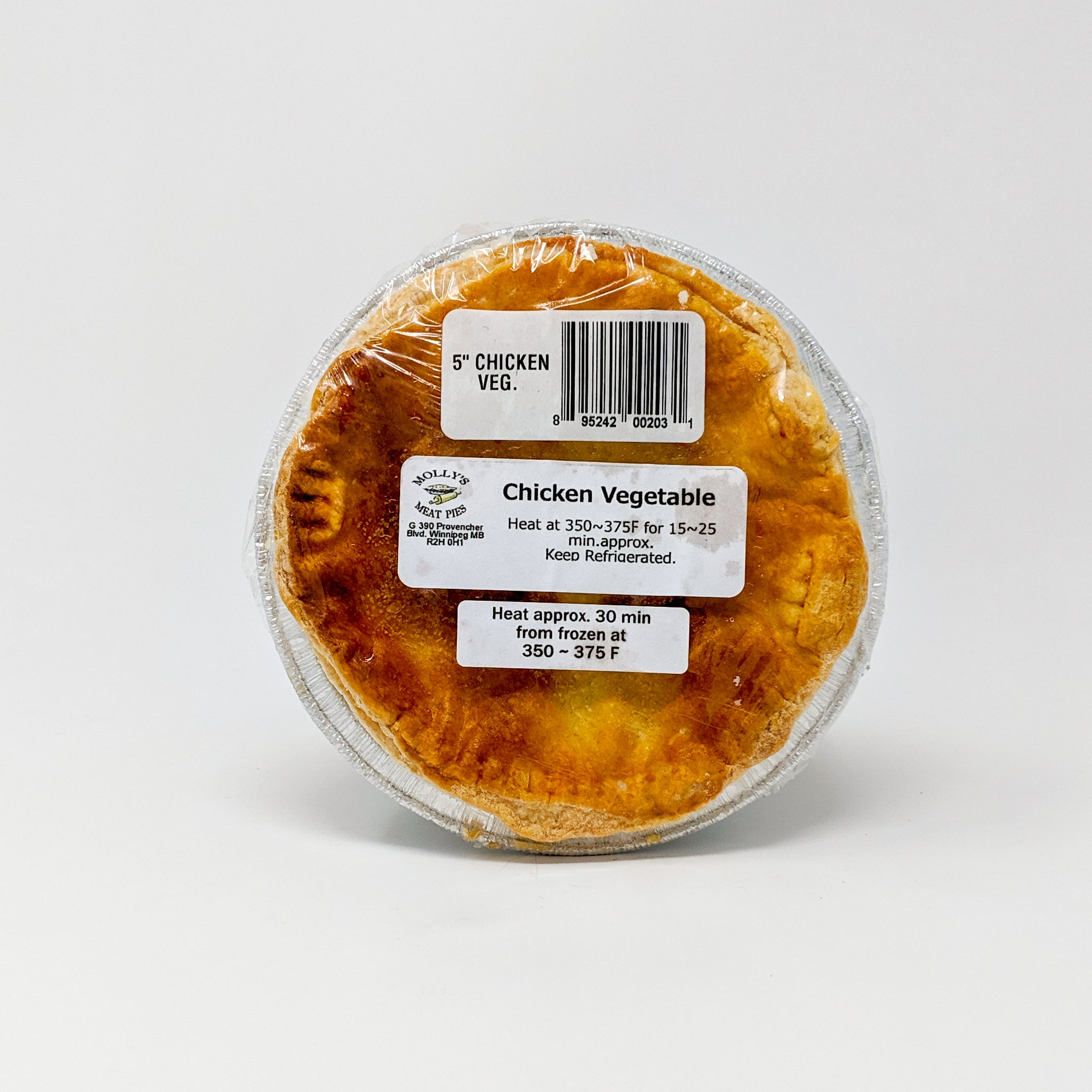 "Chicken & Vegetable Pie 5"" - Molly's Meat Pie - Frozen"