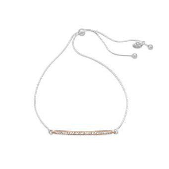 Two Tone CZ Bar Friendship Bolo Bracelet