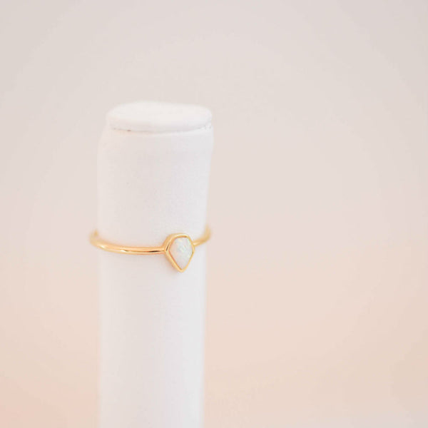 Opal Color Gold Raindrop Ring