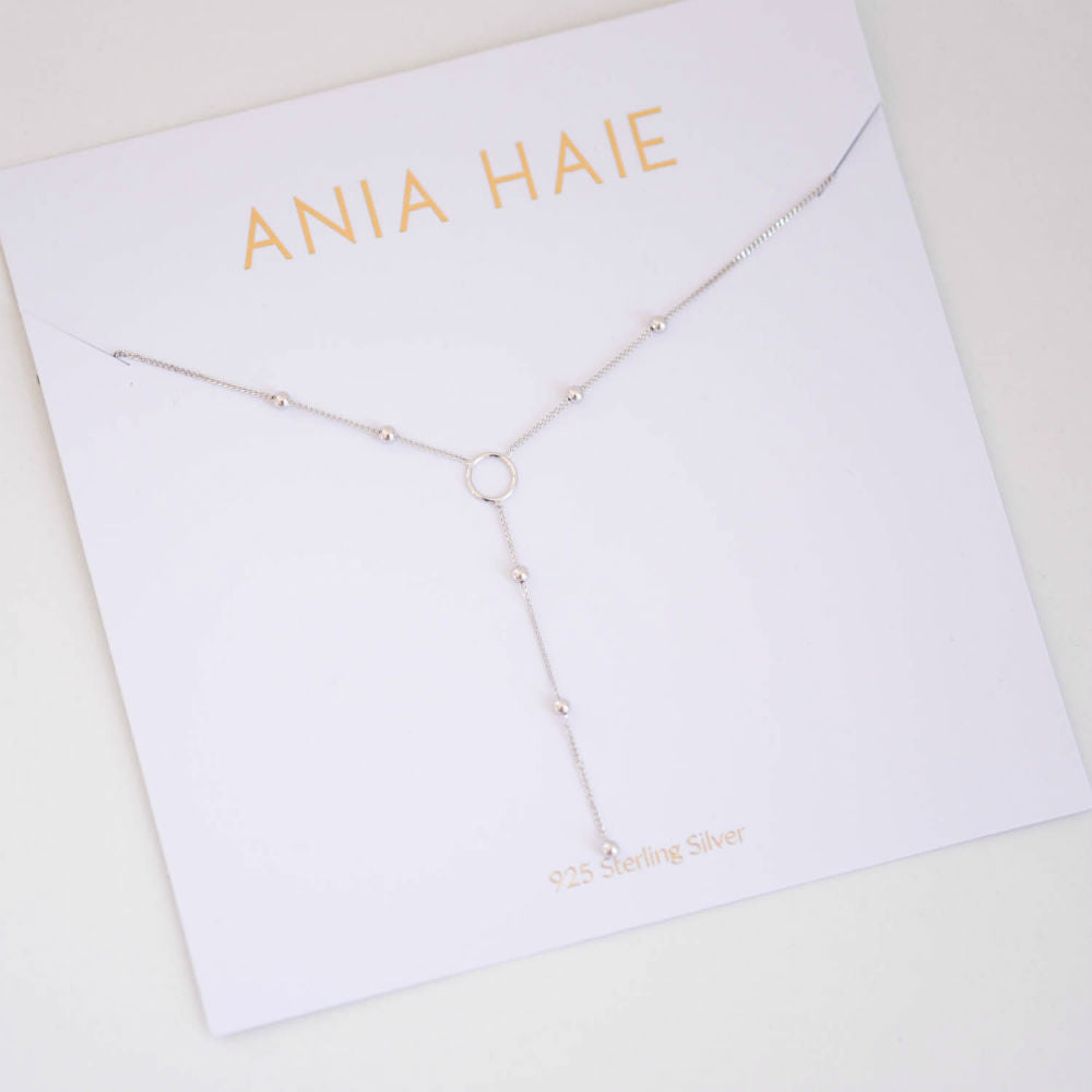 Modern Minimalist Y Ball Silver Necklace