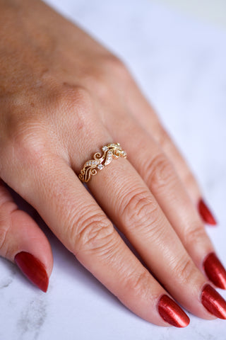 Glimmering Gold Diamond Band